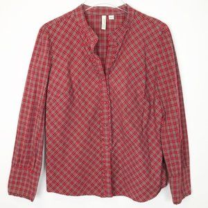 Red Plaid Ruffle Button Front Shirt Classic L J